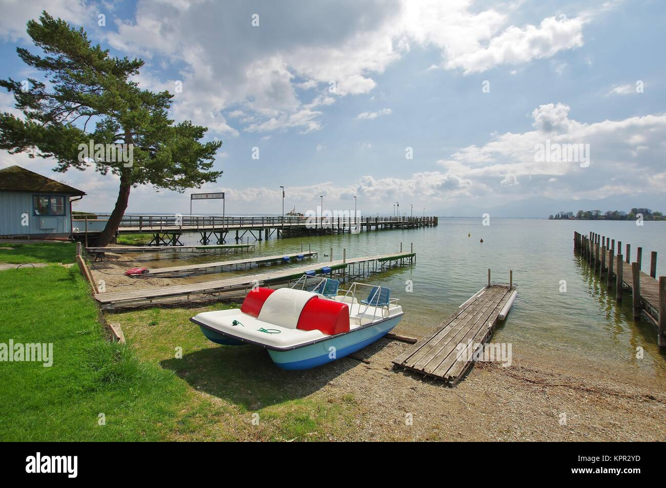 view from gstadt on the chiemsee and  - Stock Image
