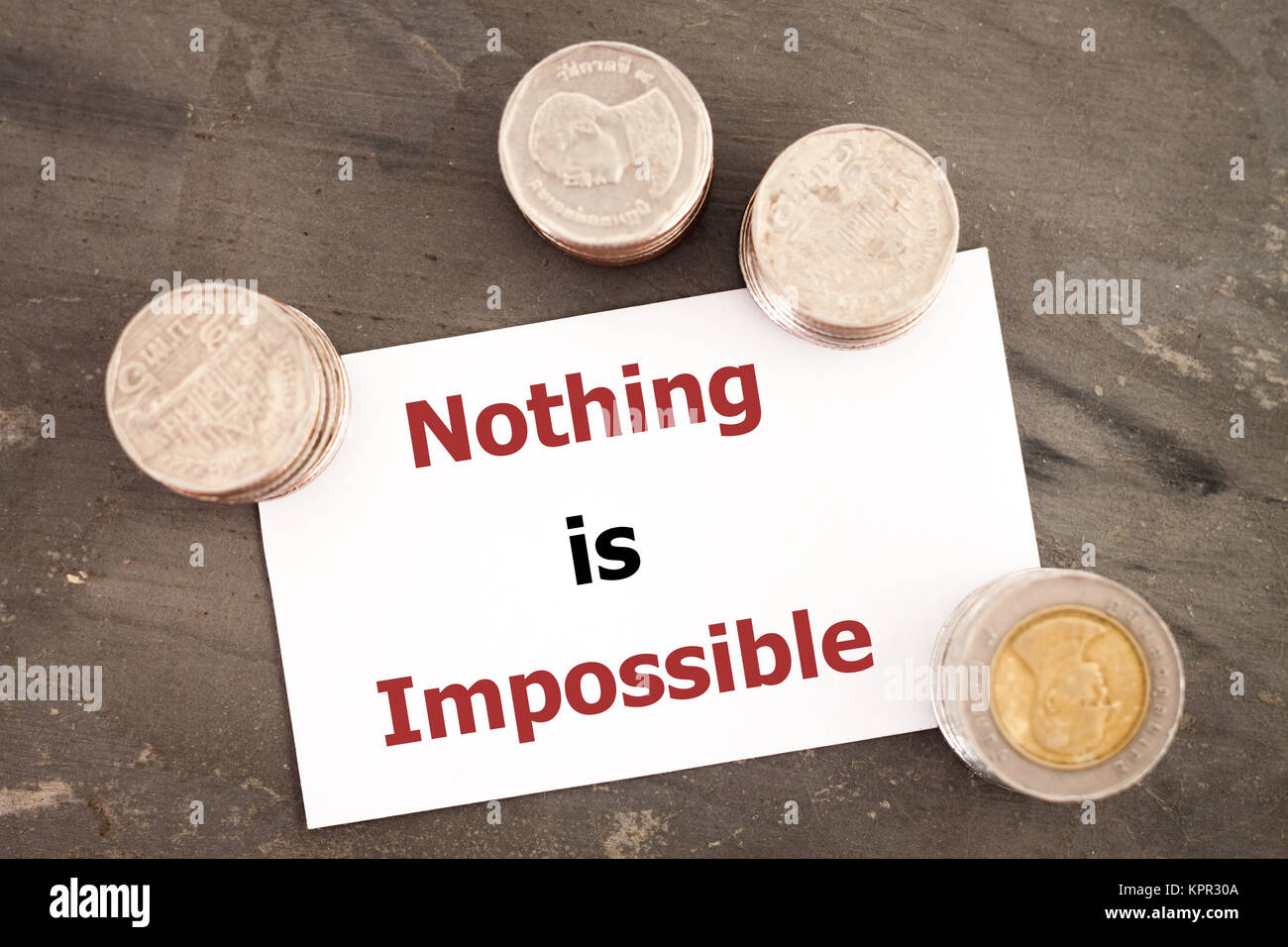 Nothing is impossible inspirational quote - Stock Image