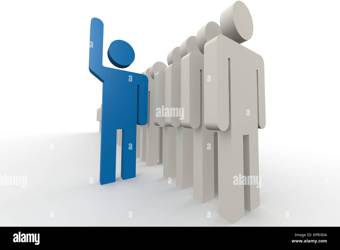 Blue man stand out of a line of queue stock photo 168923366 alamy blue man stand out of a line of queue ccuart Images