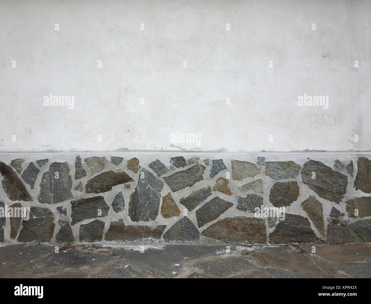Wall with stones finish - Stock Image