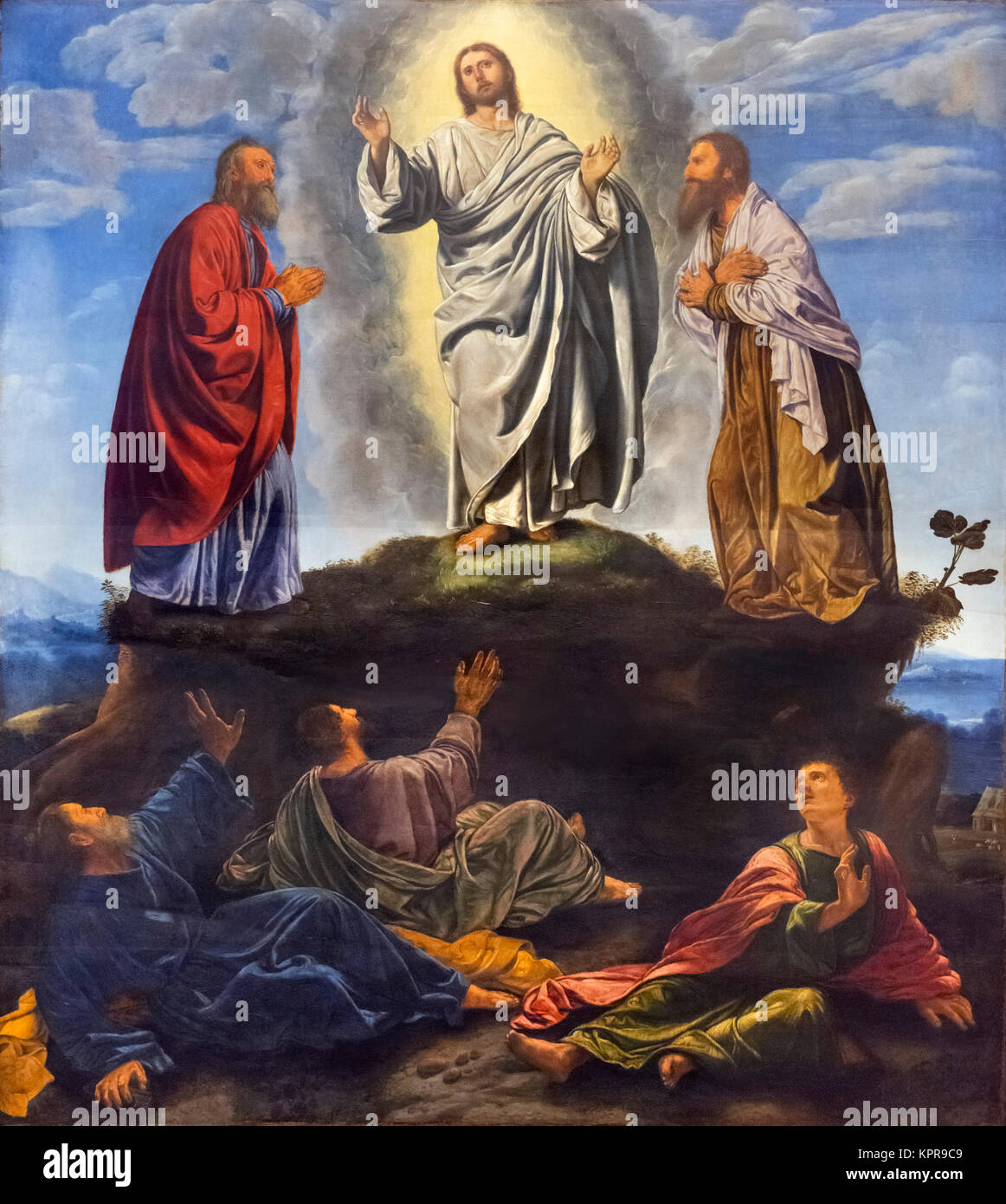 The Transfiguration by Giovanni Girolamo Savoldo (c.1480 - c.1548), oil on panel, c.1530-35. The painting shows - Stock Image