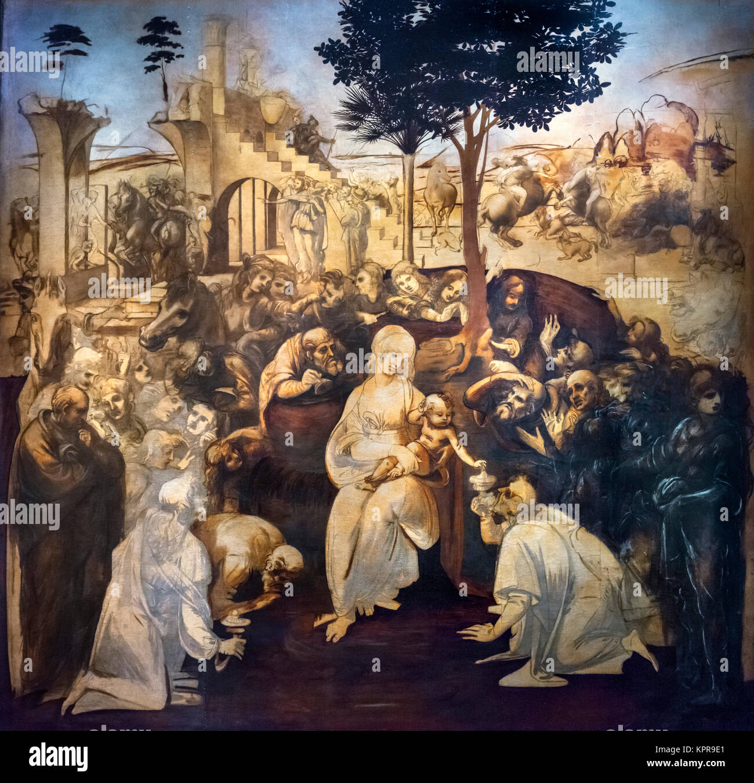 The unfinished painting Adoration of the Magi by Leonardo da Vinci (1452-1519), c.1482 - Stock Image