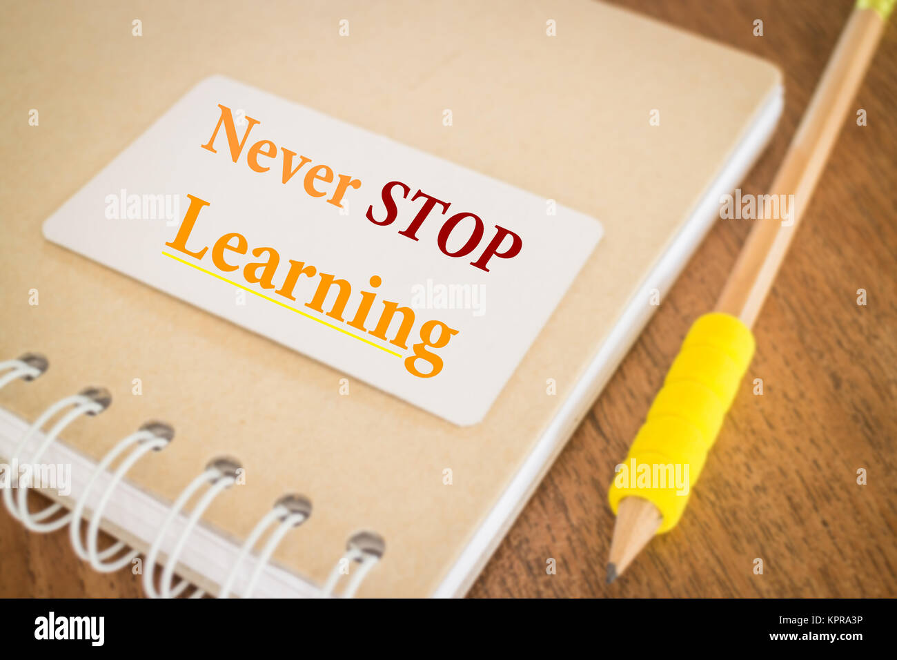 never stop learning motivational quote about education stock