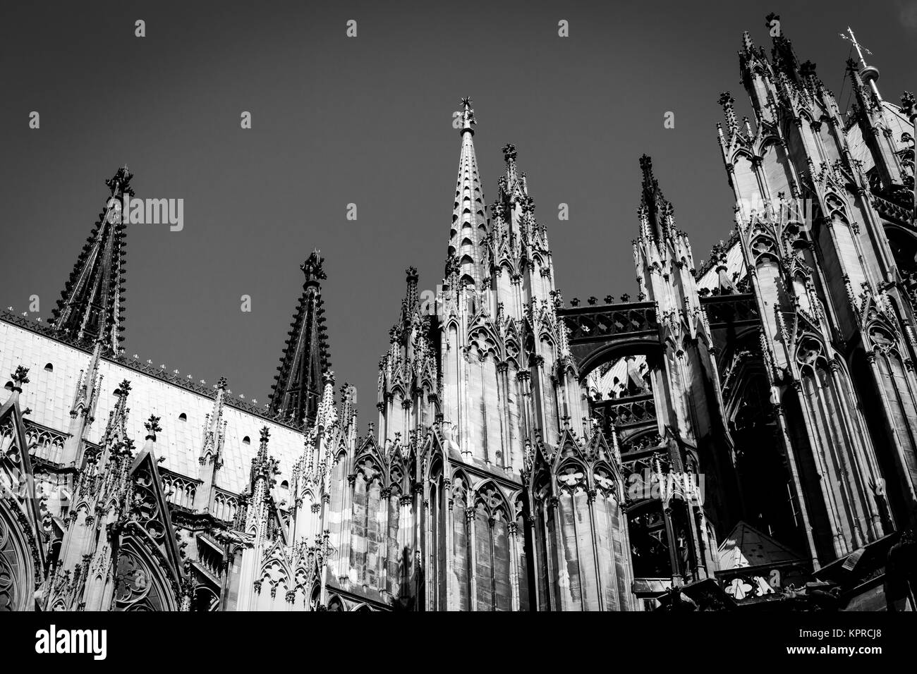Cologne Cathedral on blue sky - Stock Image