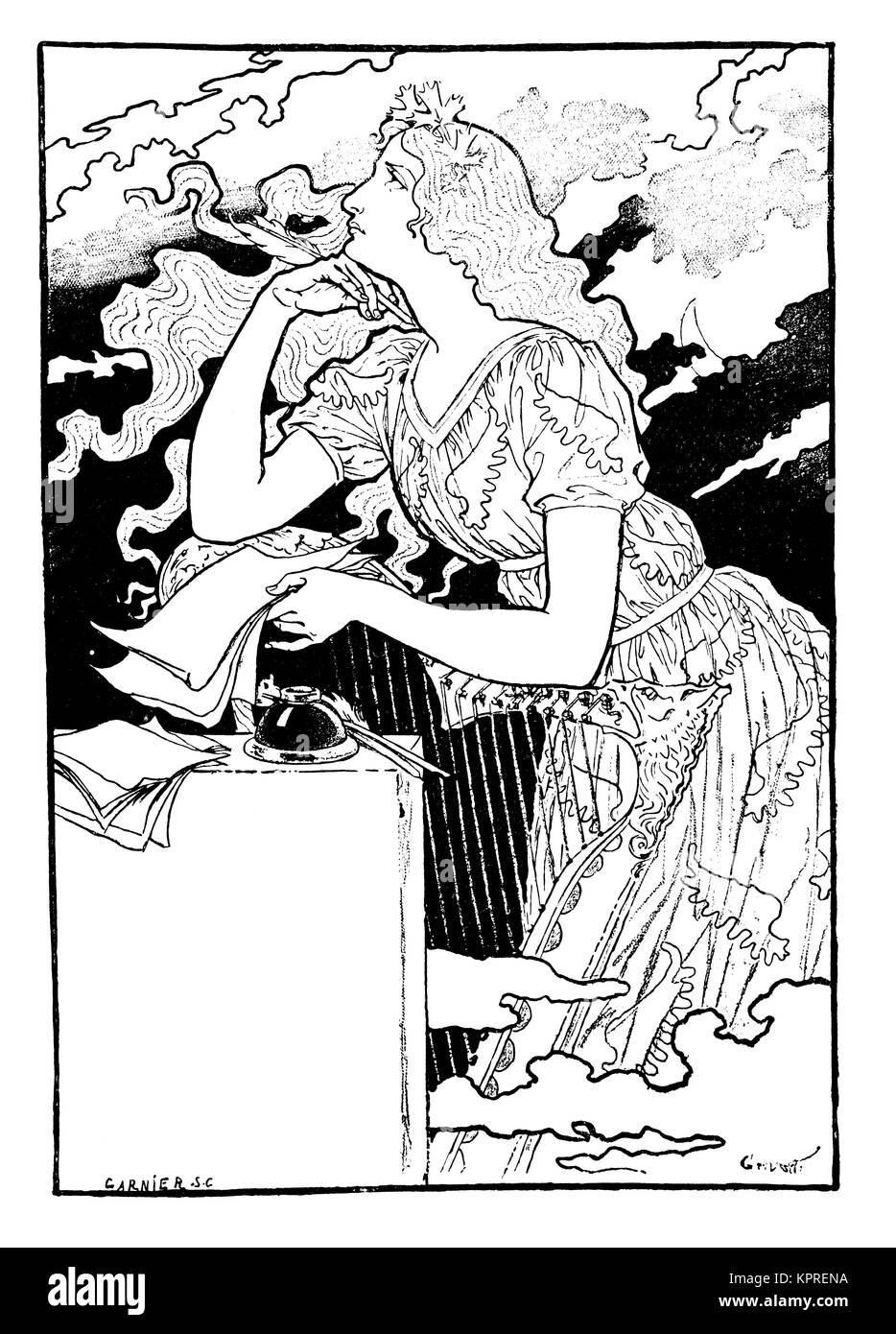 1894 woman writing poster design by artist Eugene Grasset from Volume 4 of The Studio Magazine - Stock Image