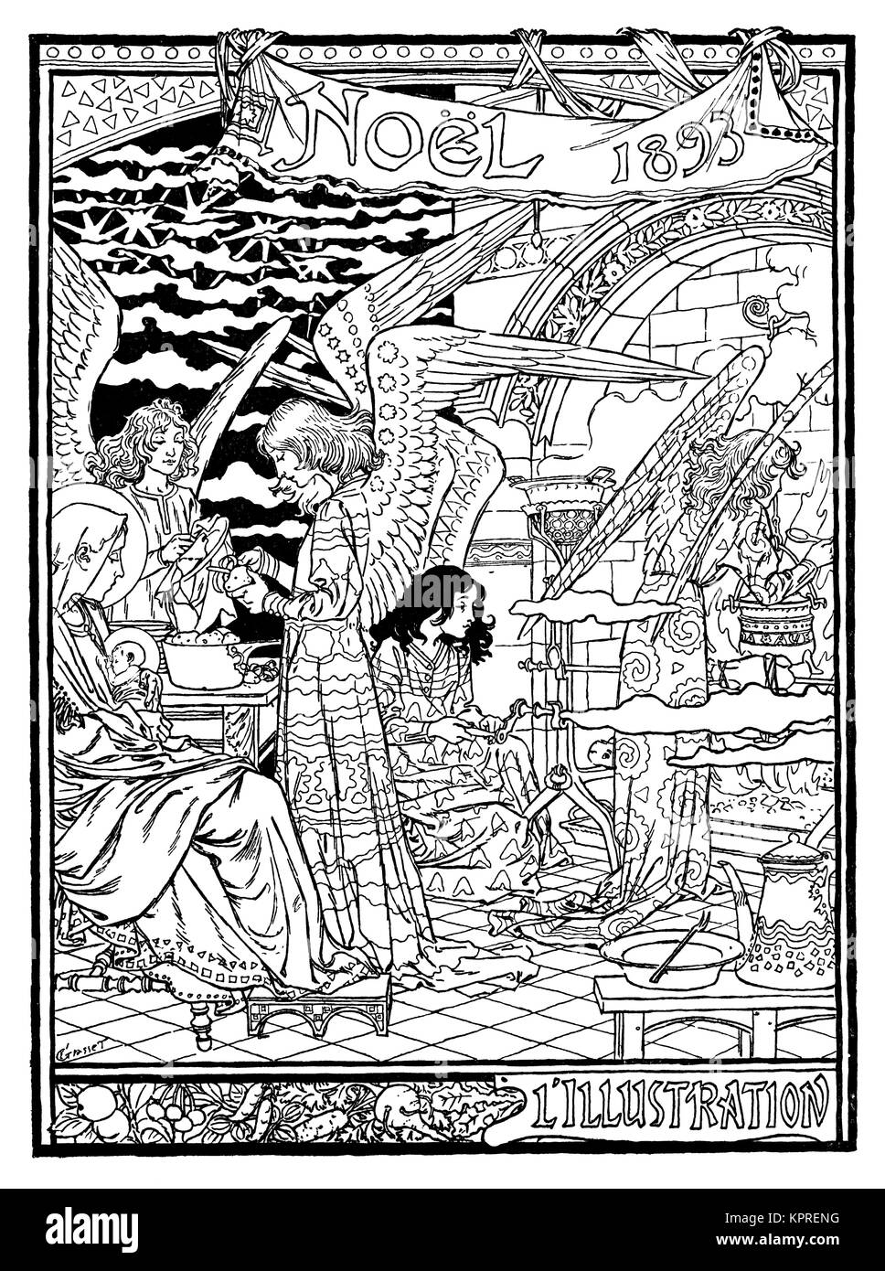 1893 angels Christmas book cover design by artist Eugene Grasset from Volume 4 of The Studio Magazine - Stock Image