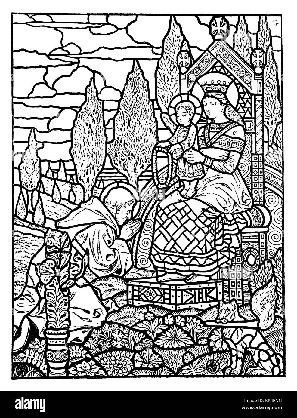 The Rosary, 1894 stained lass window design by artist Eugene Grasset from Volume 4 of The Studio Magazine - Stock Image