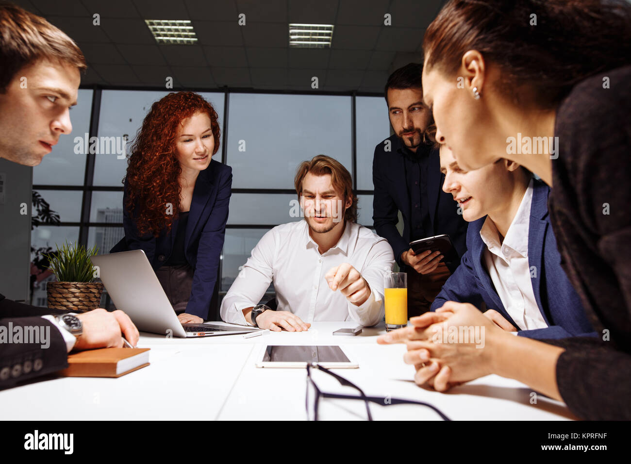 Business man making presentation at office - Stock Image
