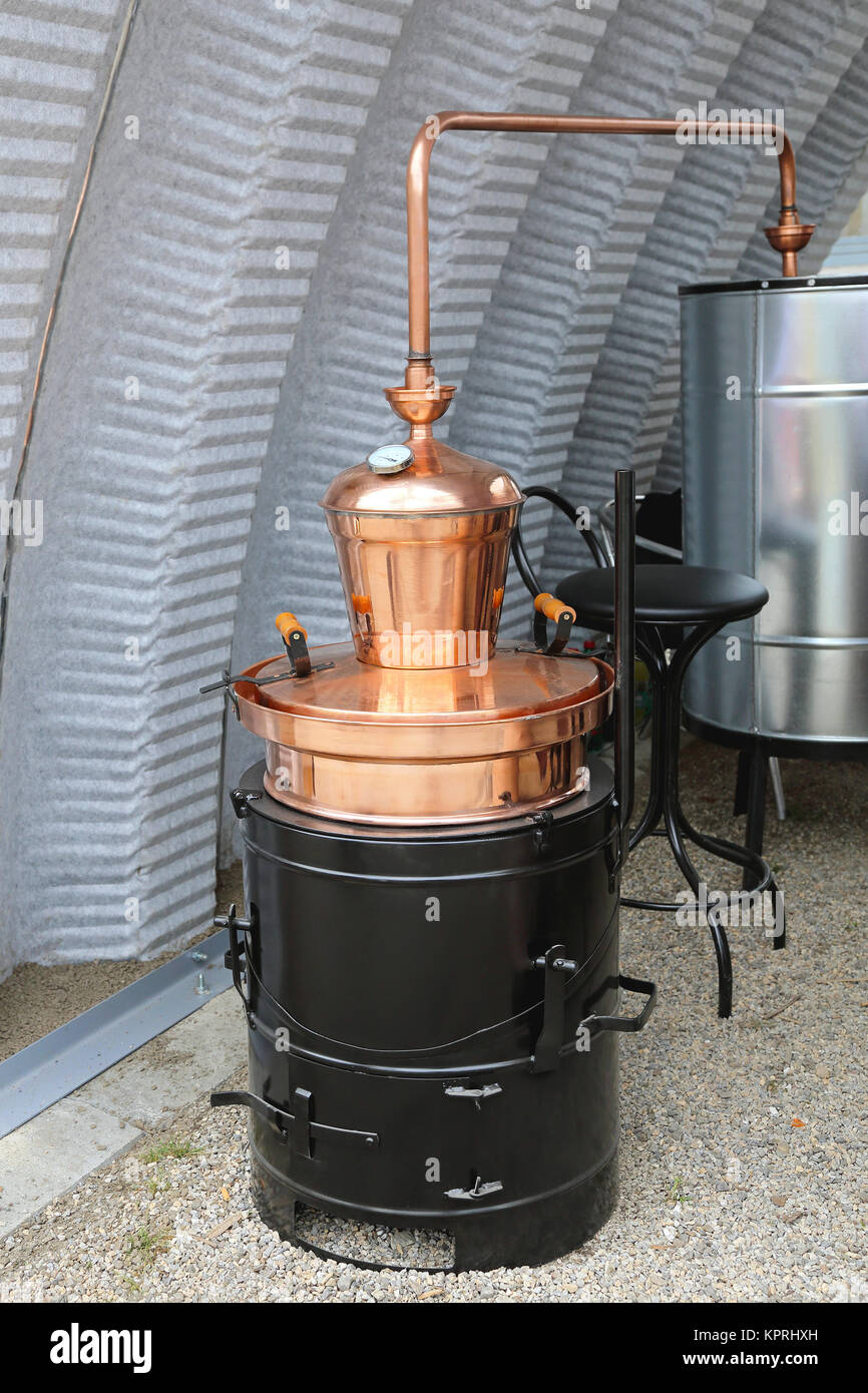 Copper Still Pot - Stock Image