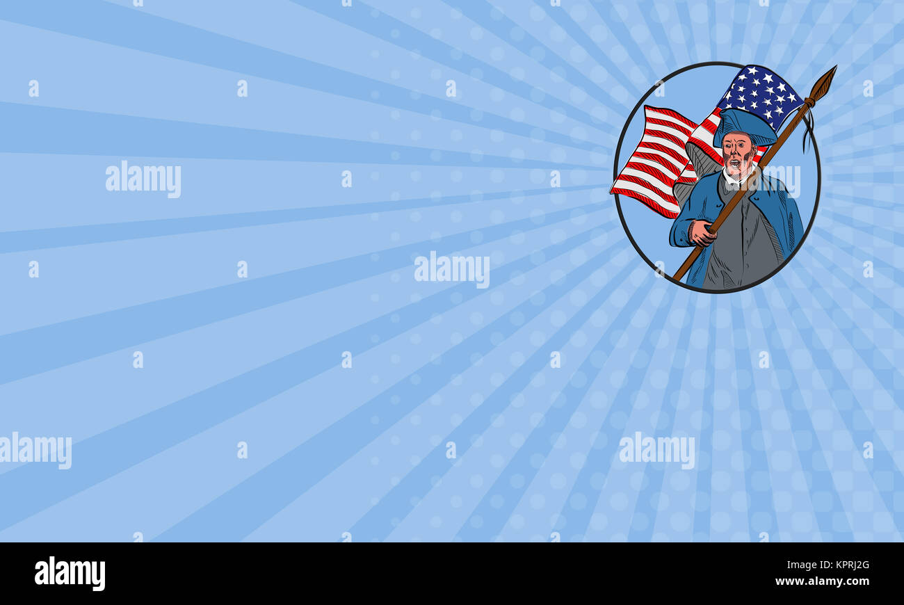Business card American Patriot Carrying USA Flag Circle Drawing ...