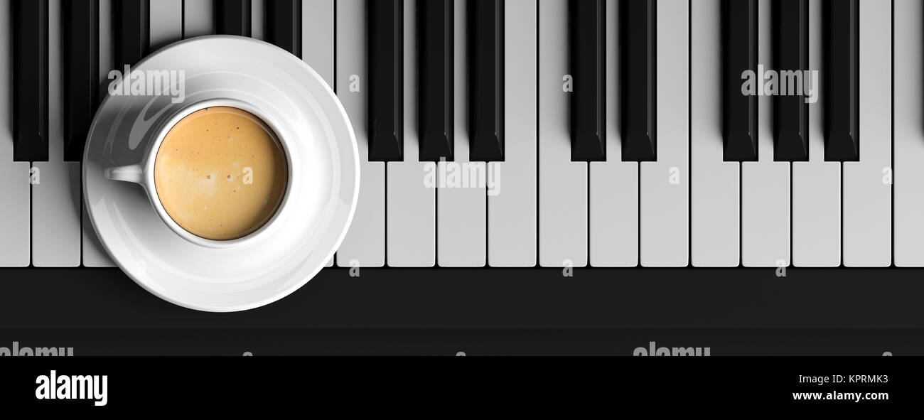 Cup Of Coffee On A Black Piano Top View Banner 3d Illustration Stock Photo Alamy