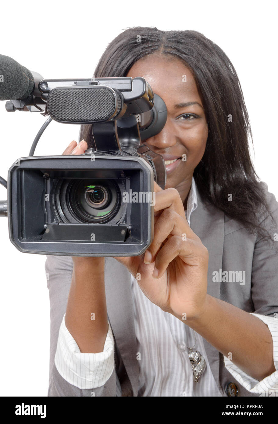 young African American women with professional video camera Stock ... 61c4eb73b6