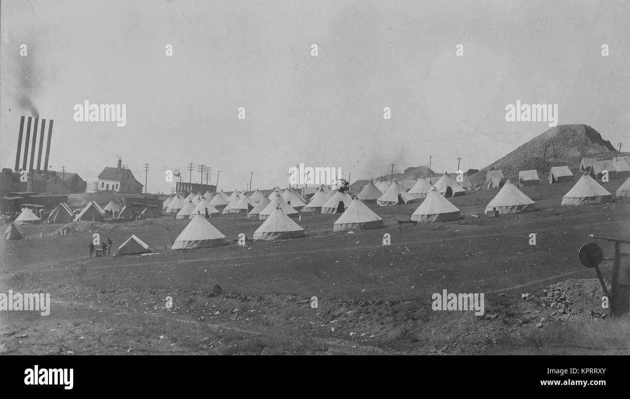 National Guard Tents, Protecting The Miners From A Huge Strike - Stock Image