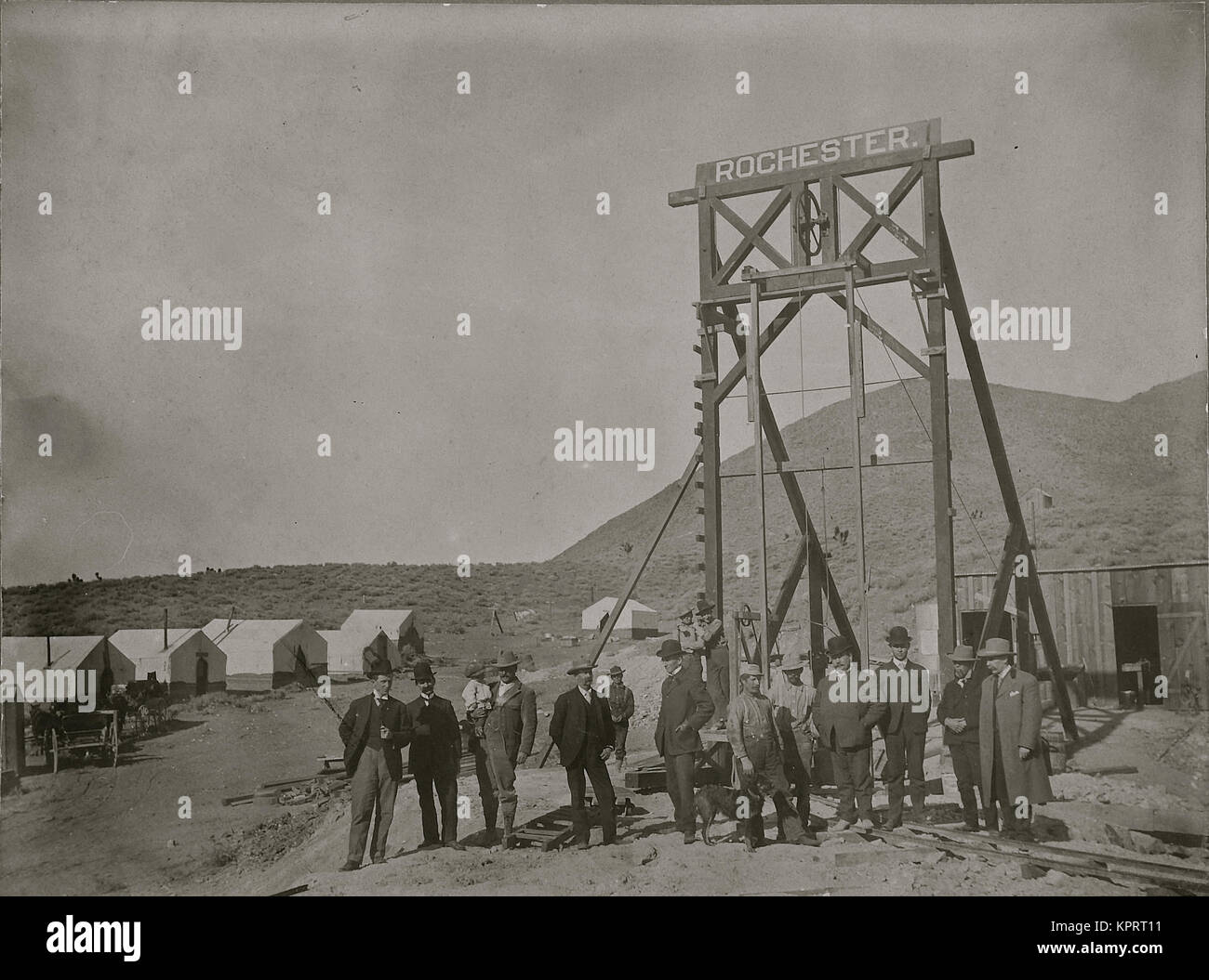 Goldfield Dignitaries  At Rochester Gallows Frame For Mining Venture. - Stock Image