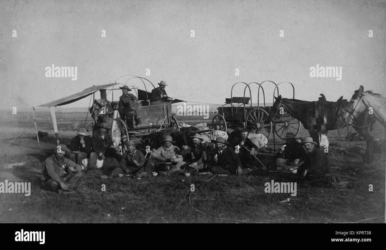 Cowboys At The Chuck Wagon - Stock Image