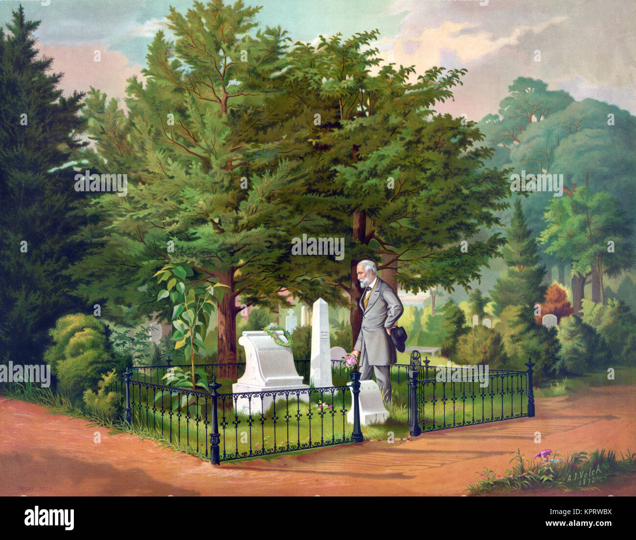 General Lee's last visit to Stonewall Jackson's grave - Stock Image