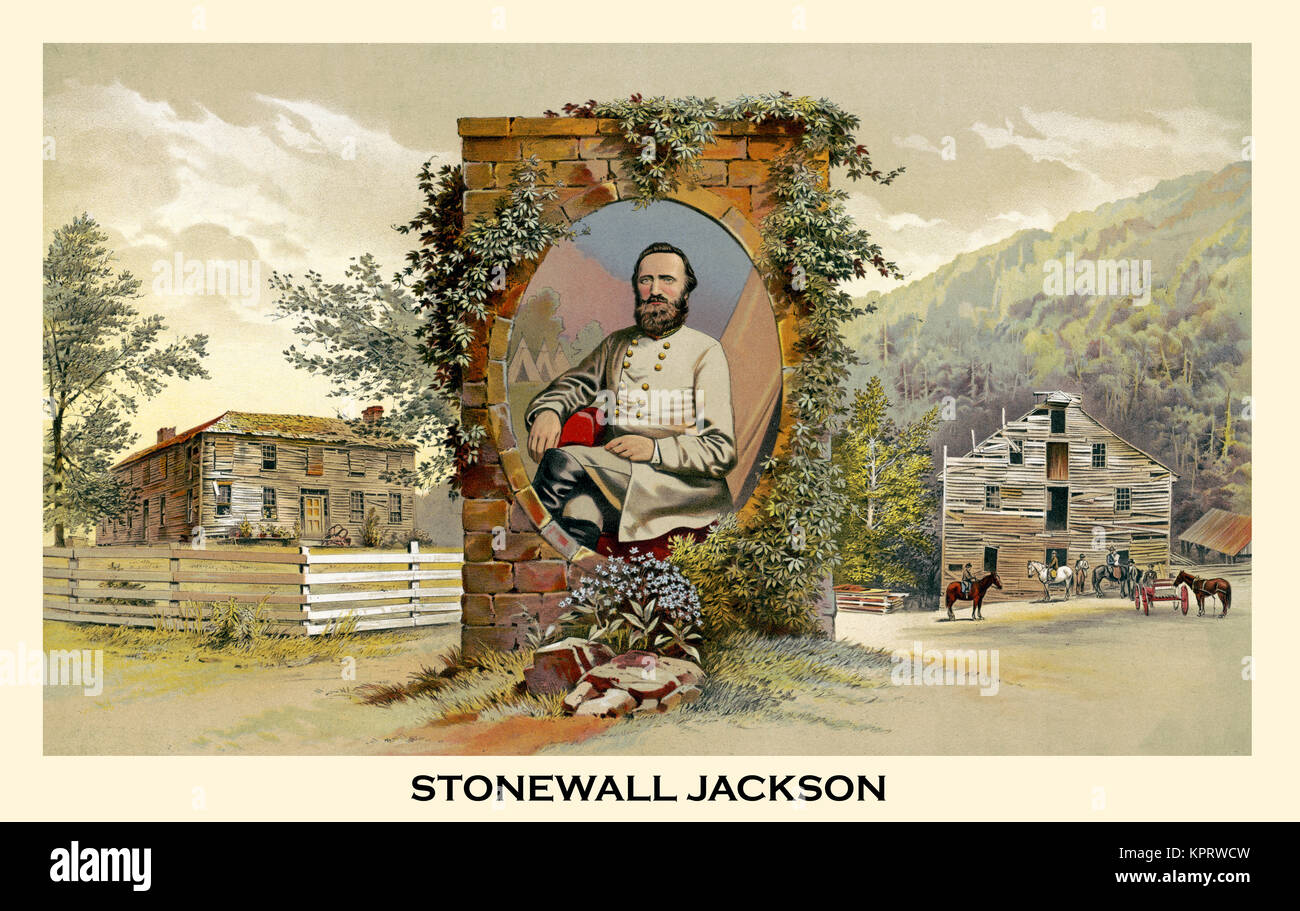 A true picture of Stonewall Jackson and his boyhood Home - Stock Image
