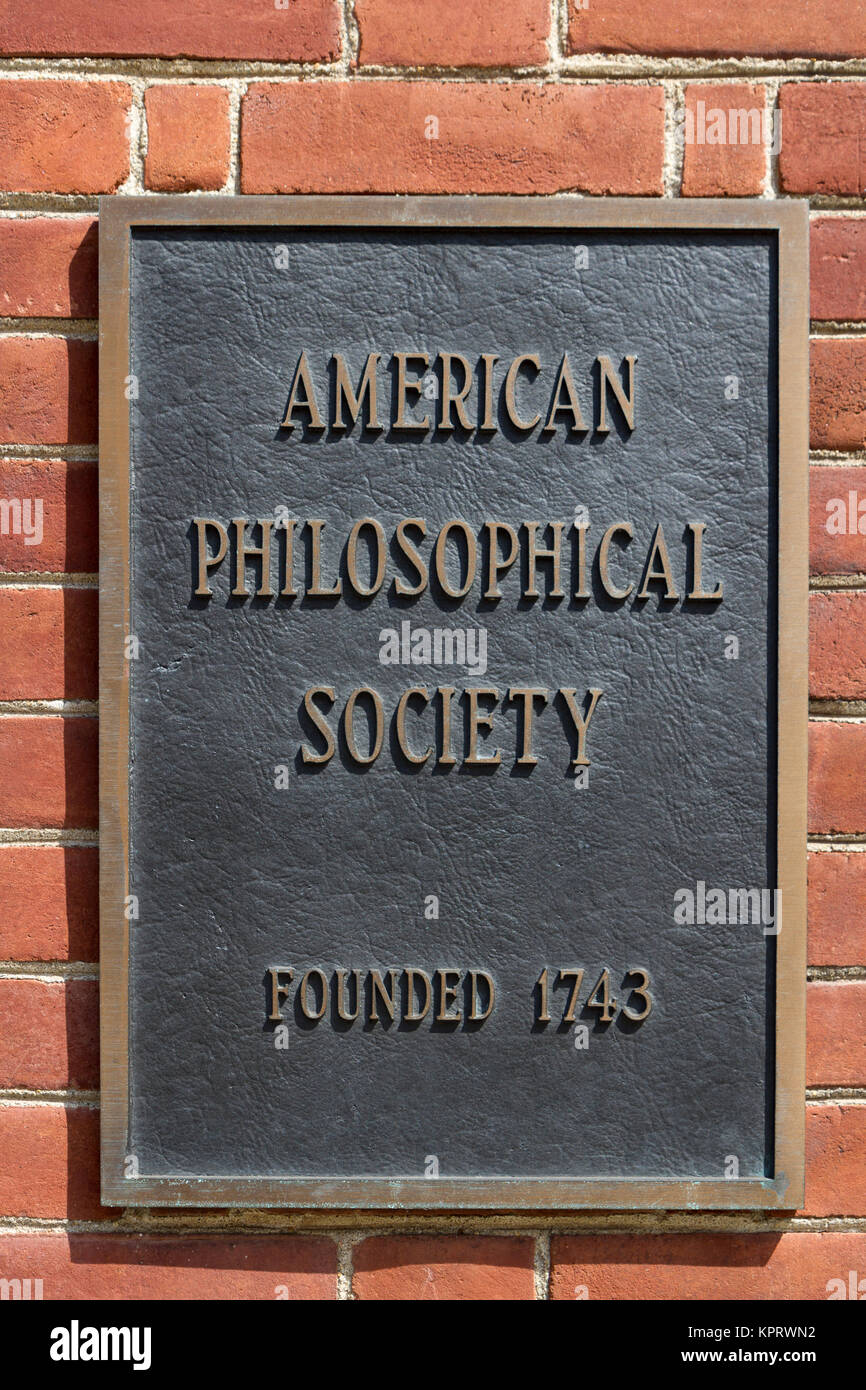 'American Philosophical Society' sign in Philadelphia, Pennsylvania, United States. - Stock Image