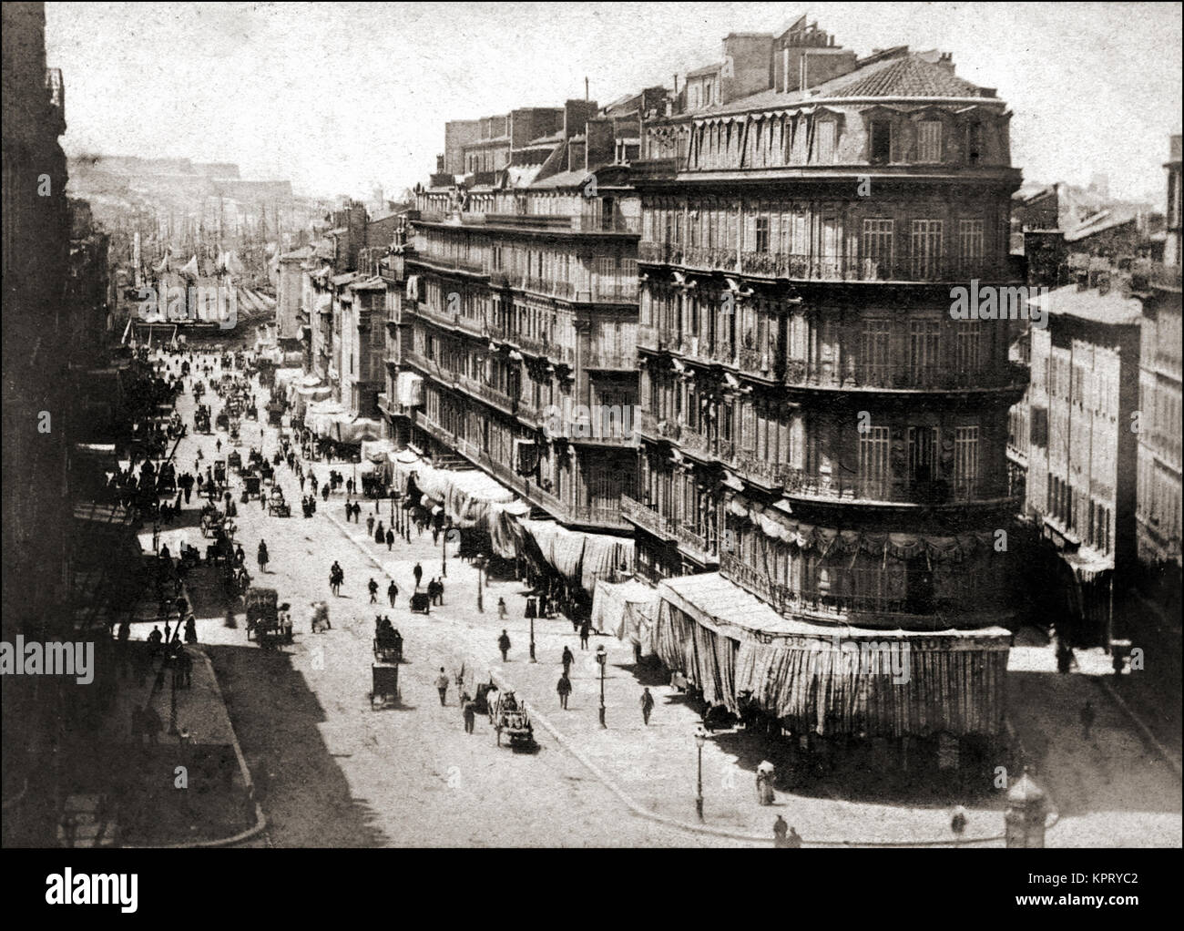 1860 and busy Mediterranean port in the South of France - Stock Image