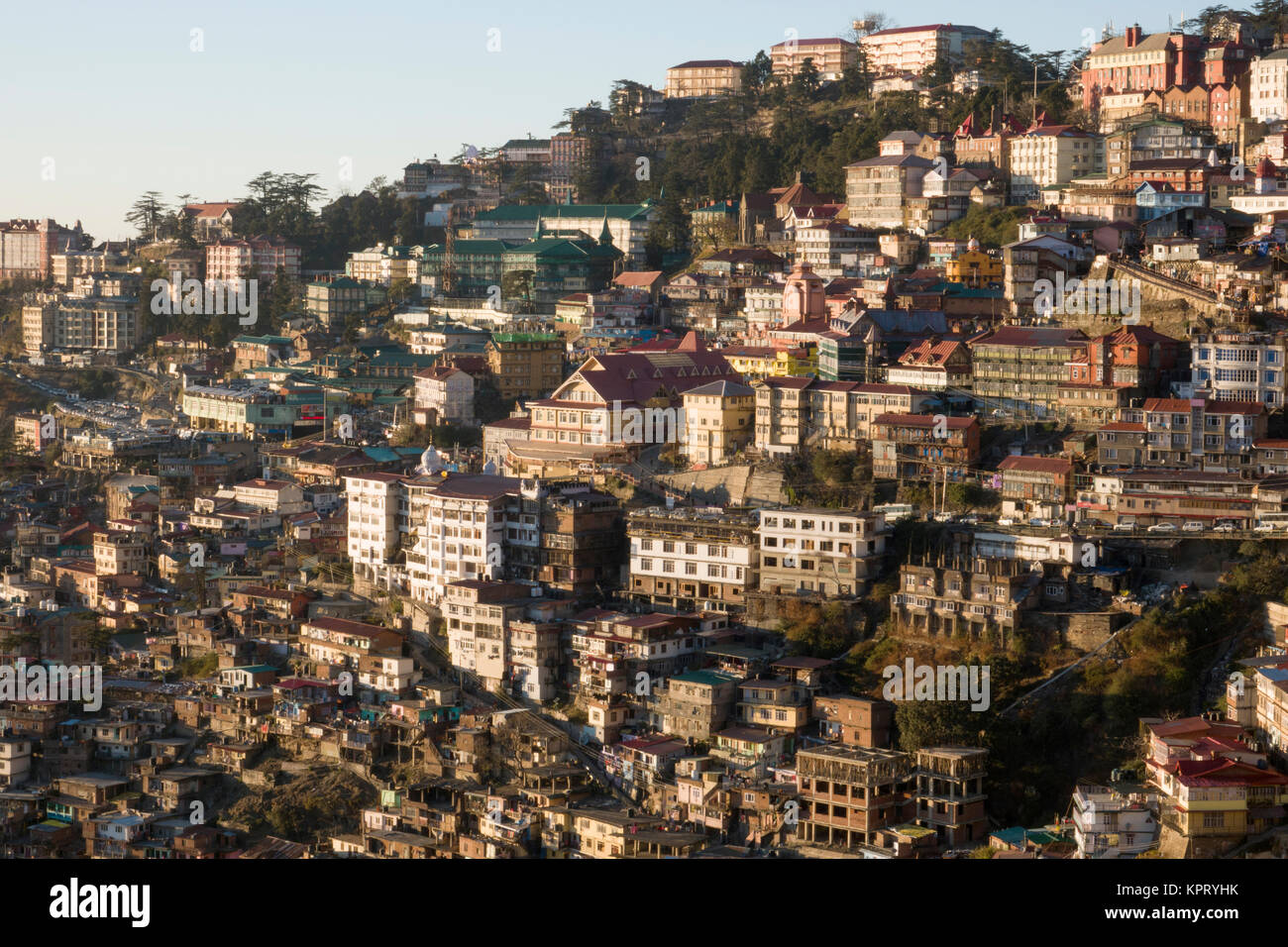 High angle view of Shimla, capital of Himachal Pradesh, India - Stock Image