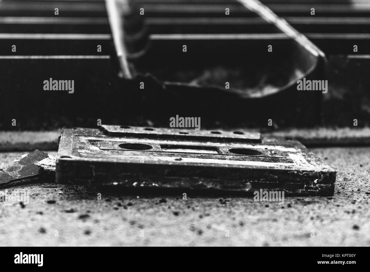 Old Compact Cassette with magnetic tape - Stock Image