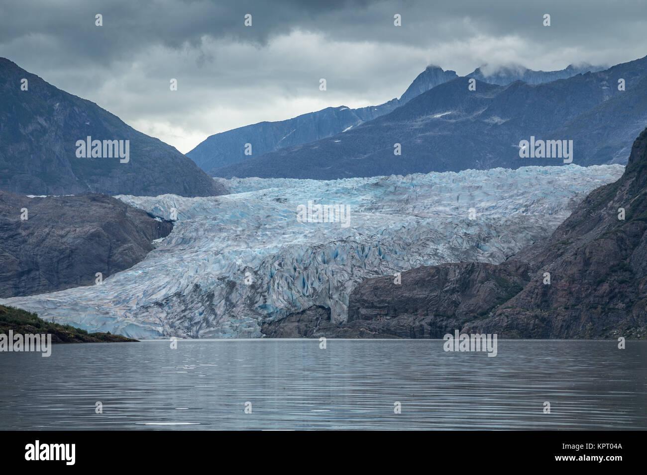 Mendenhall Glacier and lake near Juneau, the capital city of Alaska, USA - Stock Image