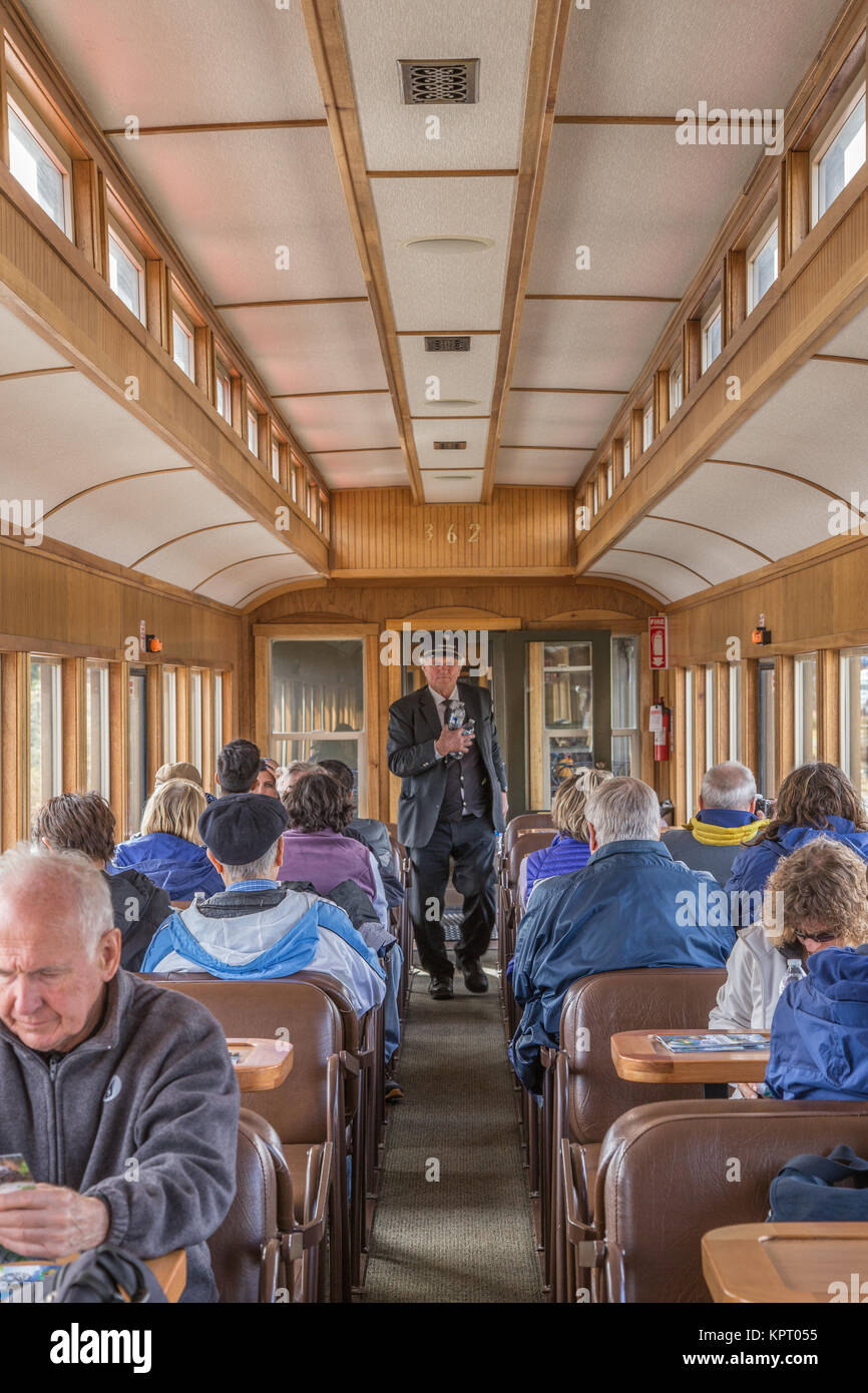 Passengers on the White Pass and Yukon Route railway which travels from Skagway, Alaska, USA to Carcross, Yukon - Stock Image