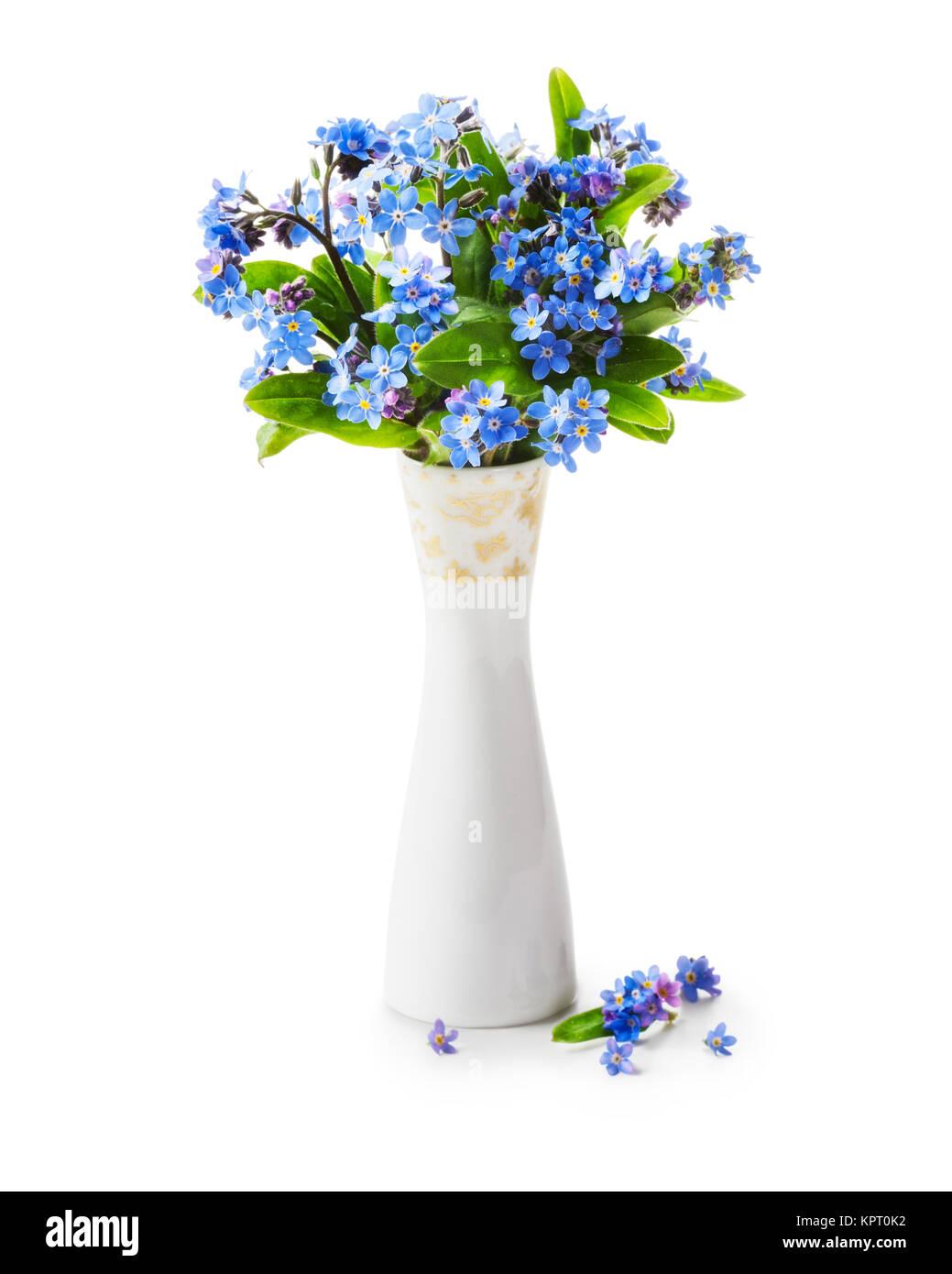Mazzo Di Fiori Finti.Romantic Bouquet Of Forget Me Not Flowers In Retro Vase Isolated