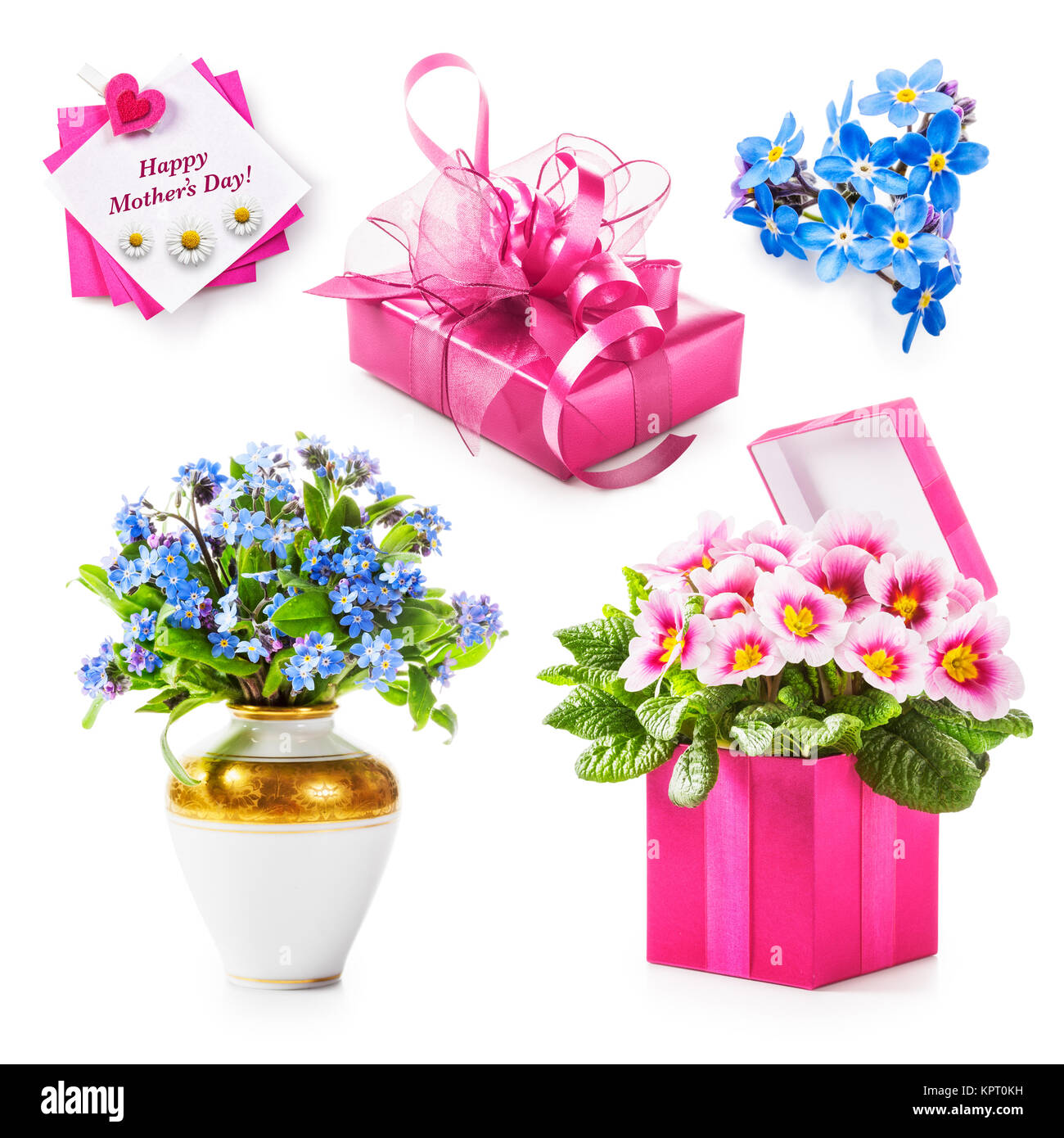 Mothers day gift collection pink gift box flowers greeting card mothers day gift collection pink gift box flowers greeting card isolated on white background holiday present concept m4hsunfo