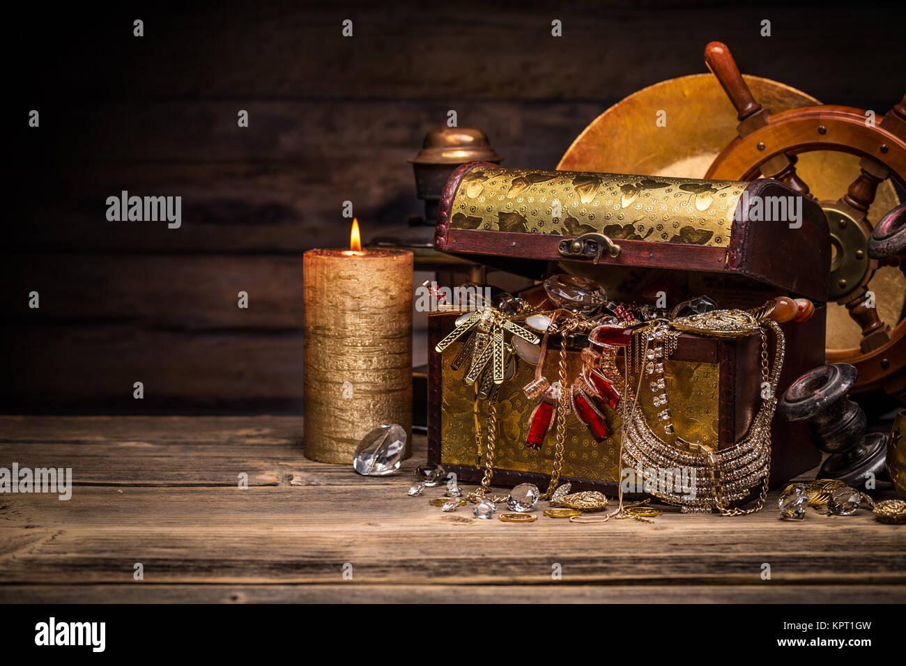 Composition of treasure chest Stock Photo