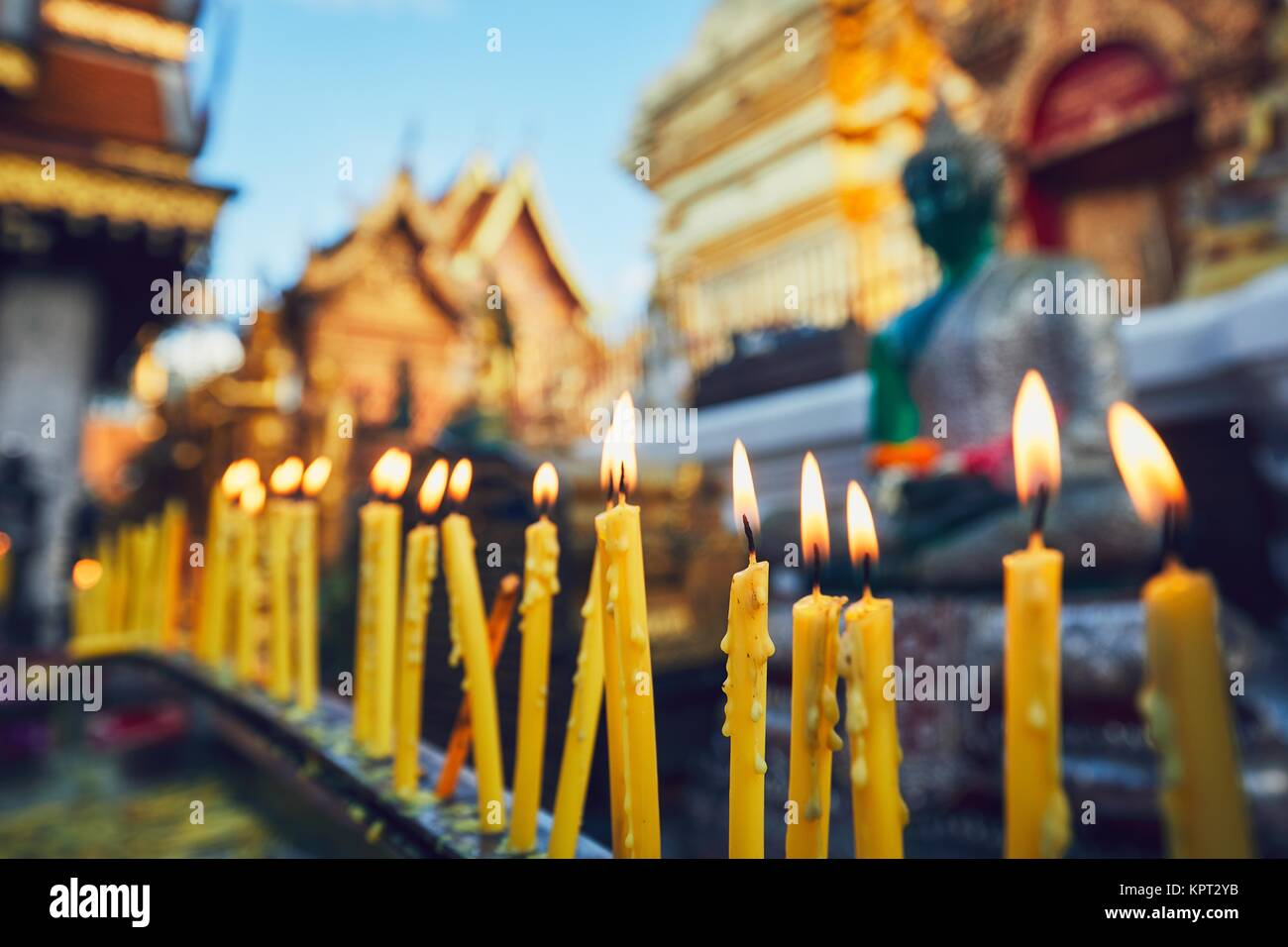 Buddhist Wat Phra That Doi Suthep Temple at the sunset. Tourists favorite landmark in Chiang Mai, Thailand. - Stock Image