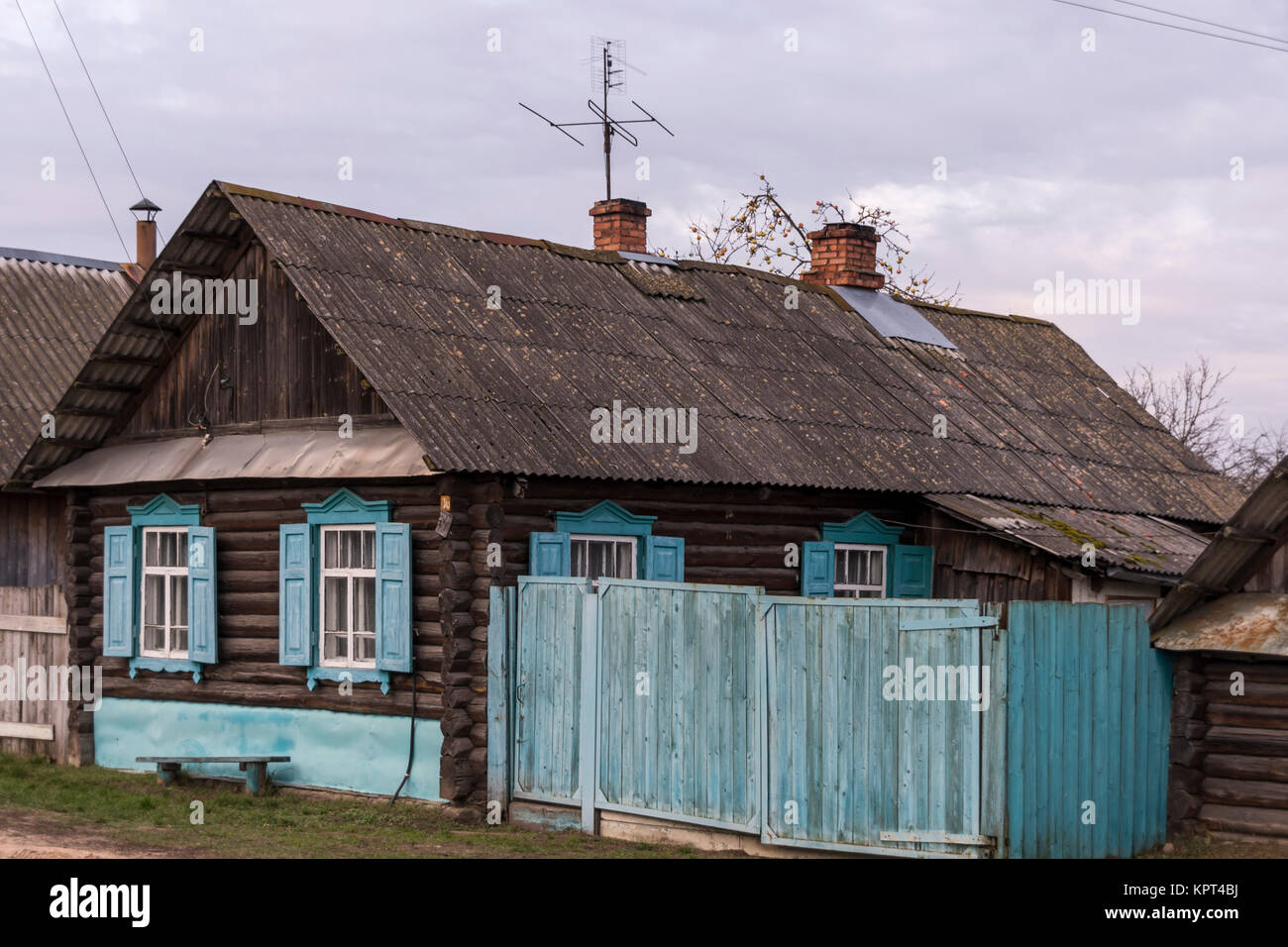 painted houses in belarus - Stock Image