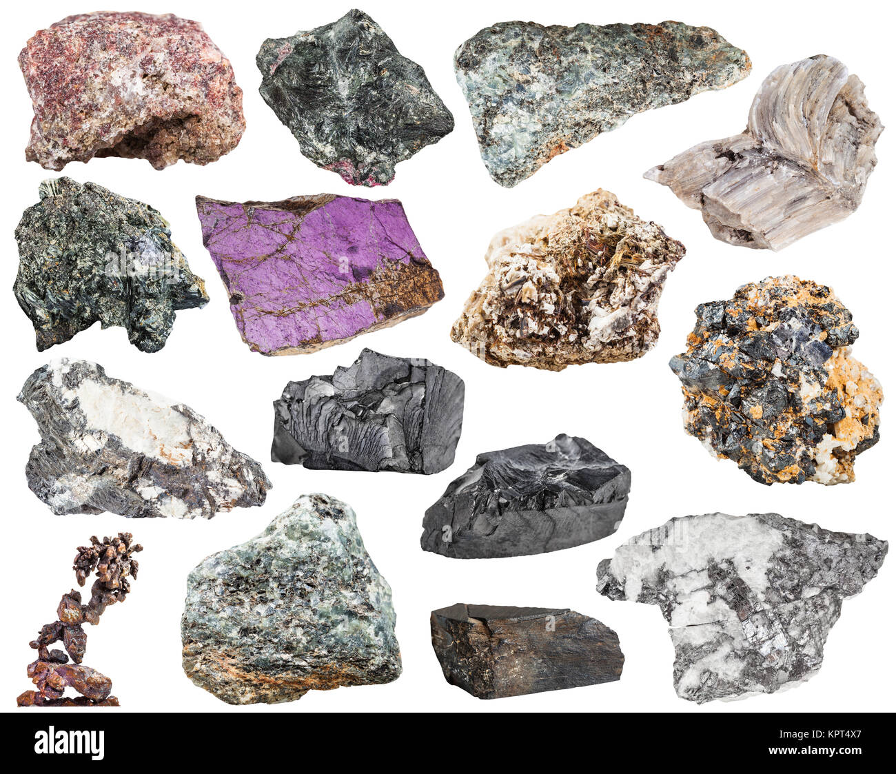 set of various natural mineral stones and rocks - baryte, barite, bismuthinite, bismuth, molybdenite, glaucophane, - Stock Image