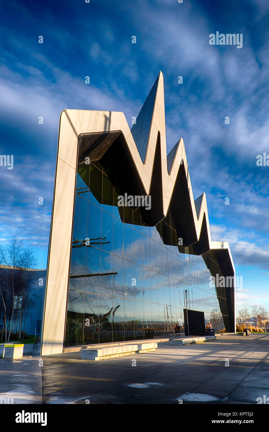 The Riverside Transport Museum by the river Clyde in Glasgow, Scotland, UK - Stock Image