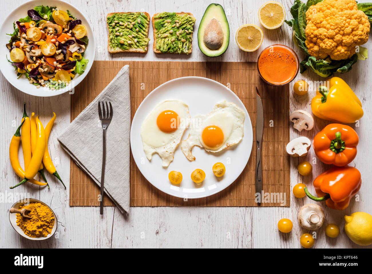 Healthy Food For Breakfast Fried Eggs Vegan Avocado Sandwiches