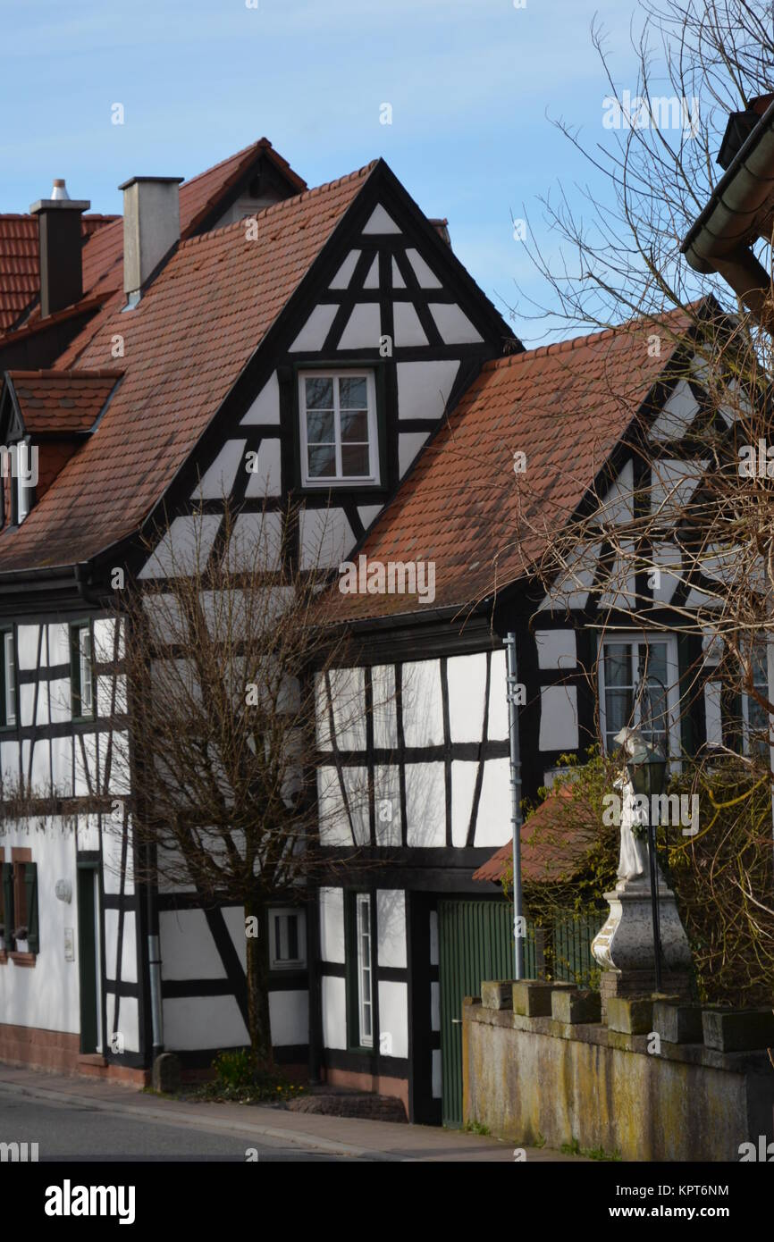 reorganized half-timbered house in the ludwig street in jockgrim Stock Photo