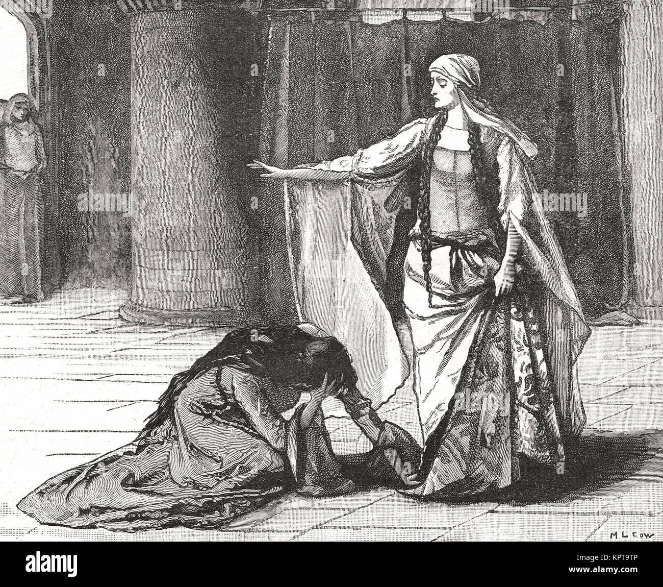 Empress Matilda, refusing to release Stephen of Blois to his wife Matilda I (or Maud) of Boulogne - Stock Image