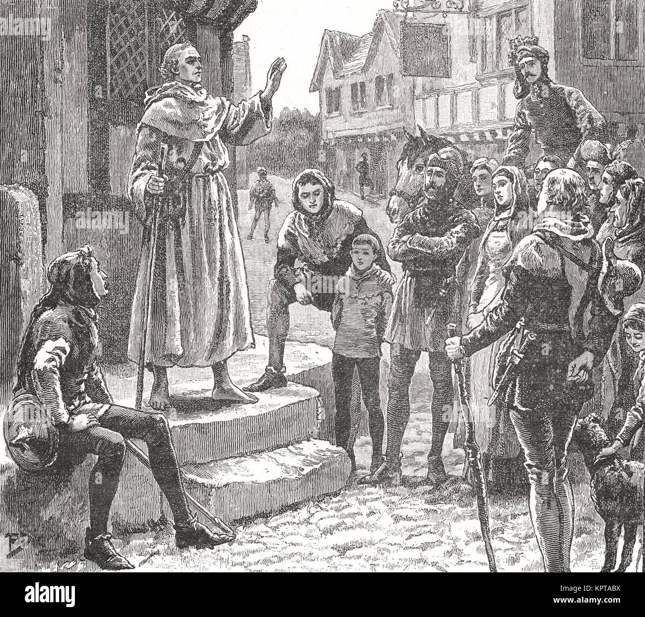 A poor priest of John Wycliffe preaching to the people, 14th Century - Stock Image