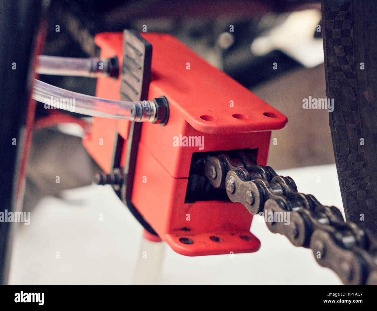 Close up chain manual cleaning device - Stock Image