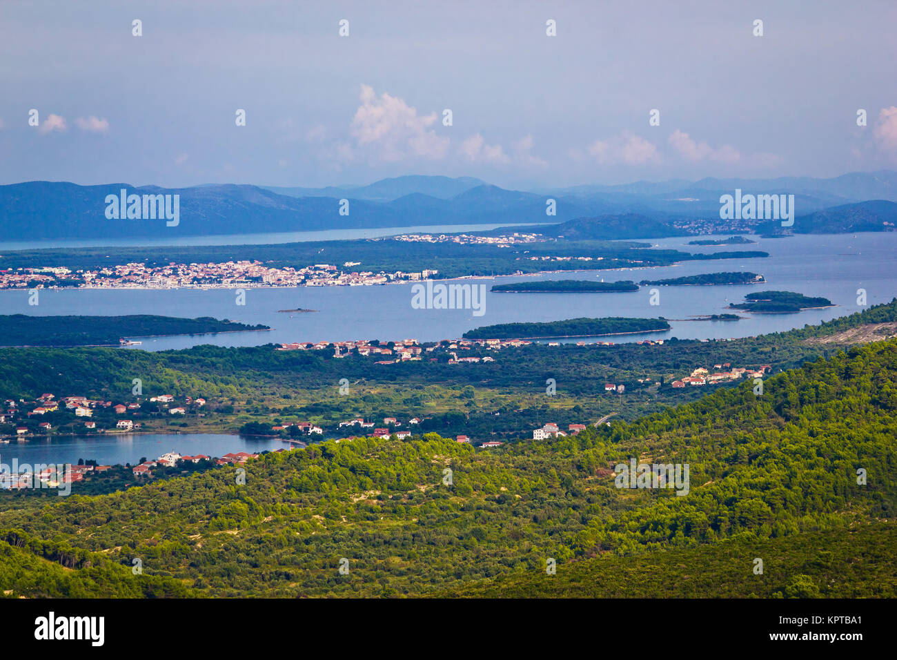 Croatian islands archipelago aerial view, bay of Pasman island - Stock Image