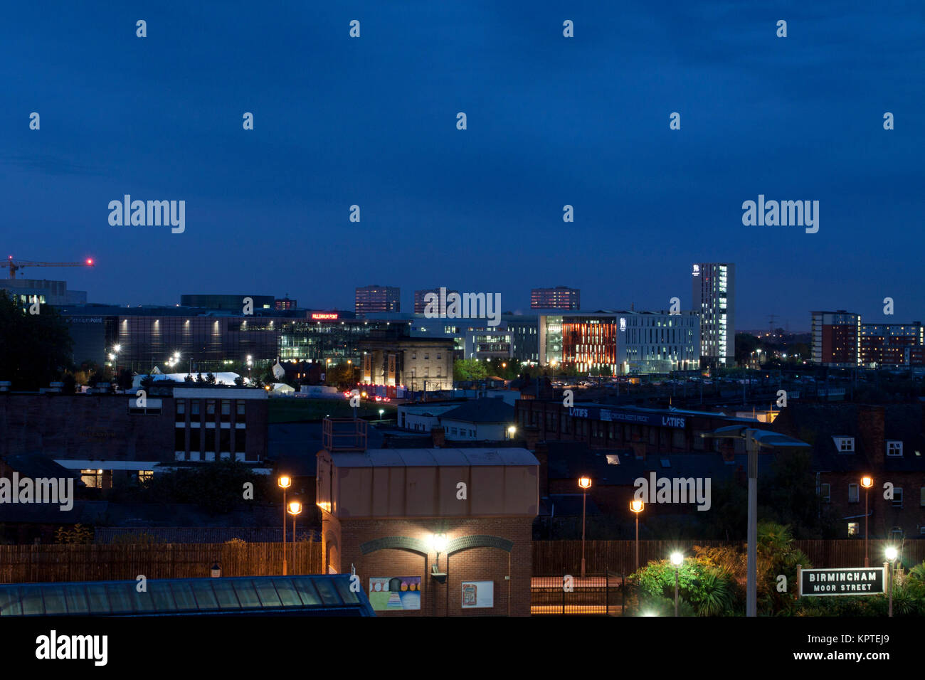 Birmingham in Great Britain by night - Stock Image