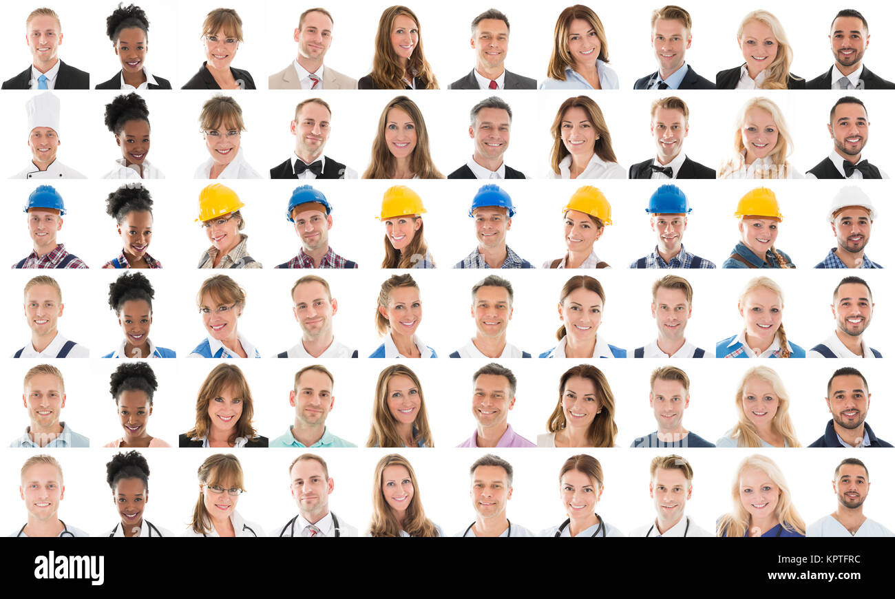 Collage Of Multi Ethnic People With Various Profession - Stock Image