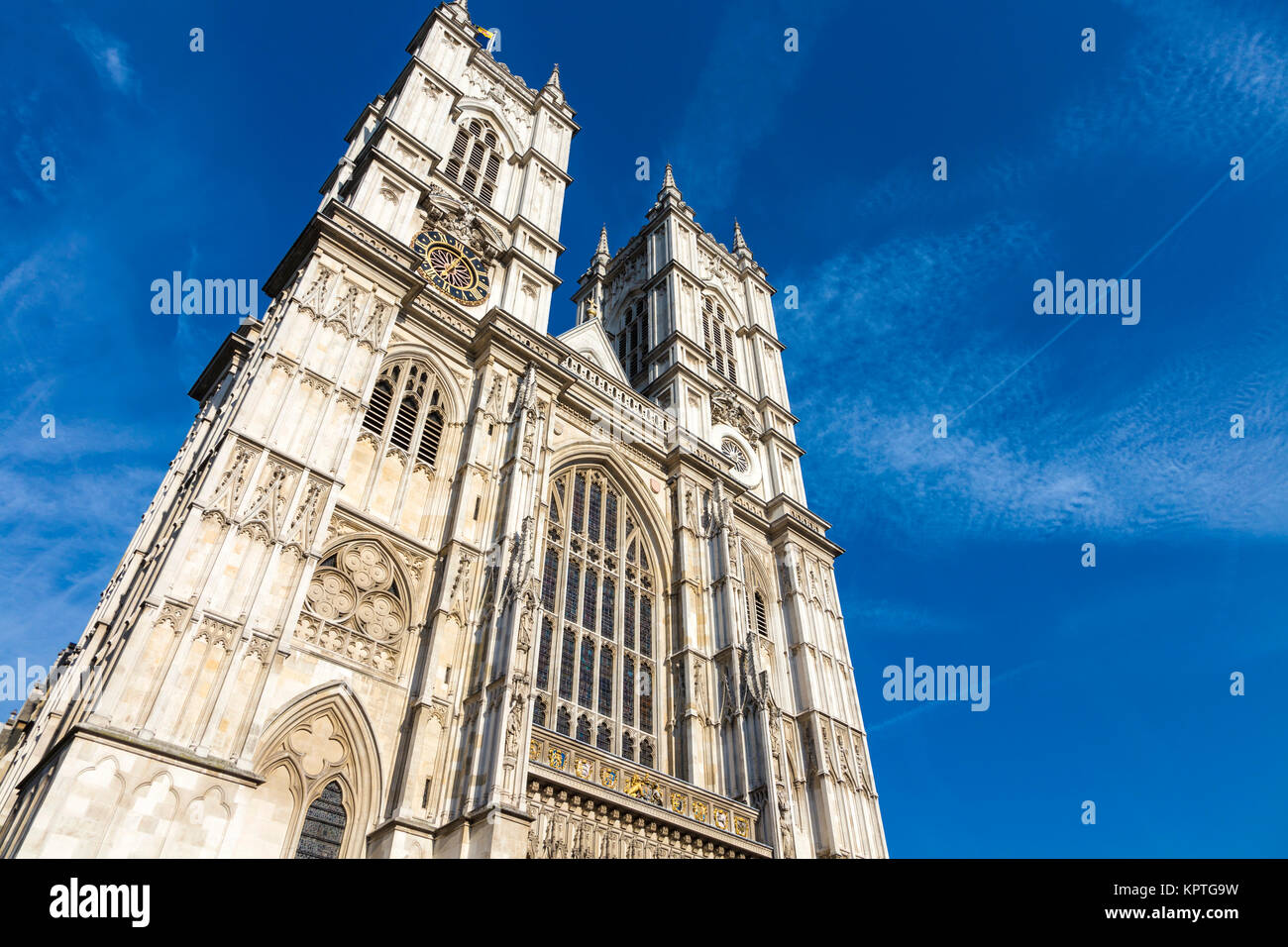 The front facade of Westminster Abbey, London, UK - Stock Image