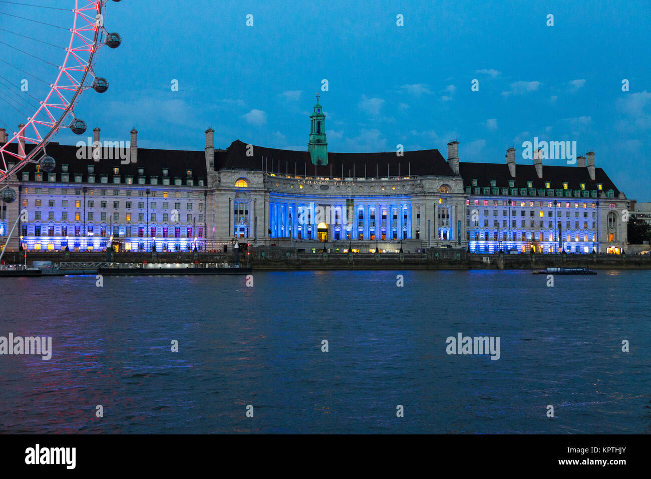 The County Hall building at night, home to the Sea Life London Aquarium, London, UK - Stock Image