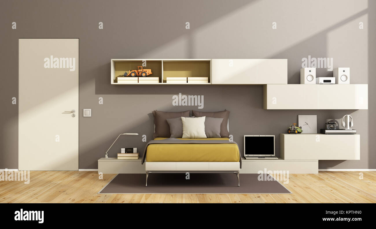 Modern Teenage Boy Bedroom   Stock Image