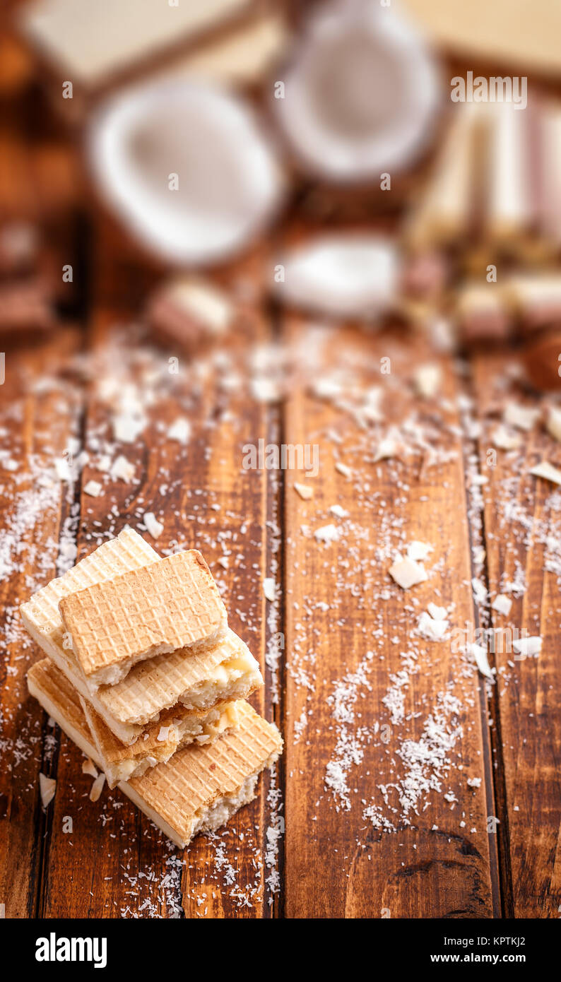 Wafer with white chocolate - Stock Image