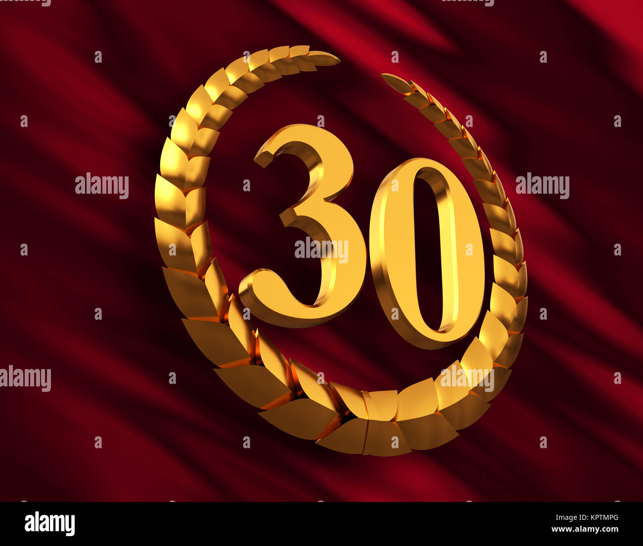 Anniversary Golden Laurel Wreath And Numeral 30 On Red Flag - Stock Image