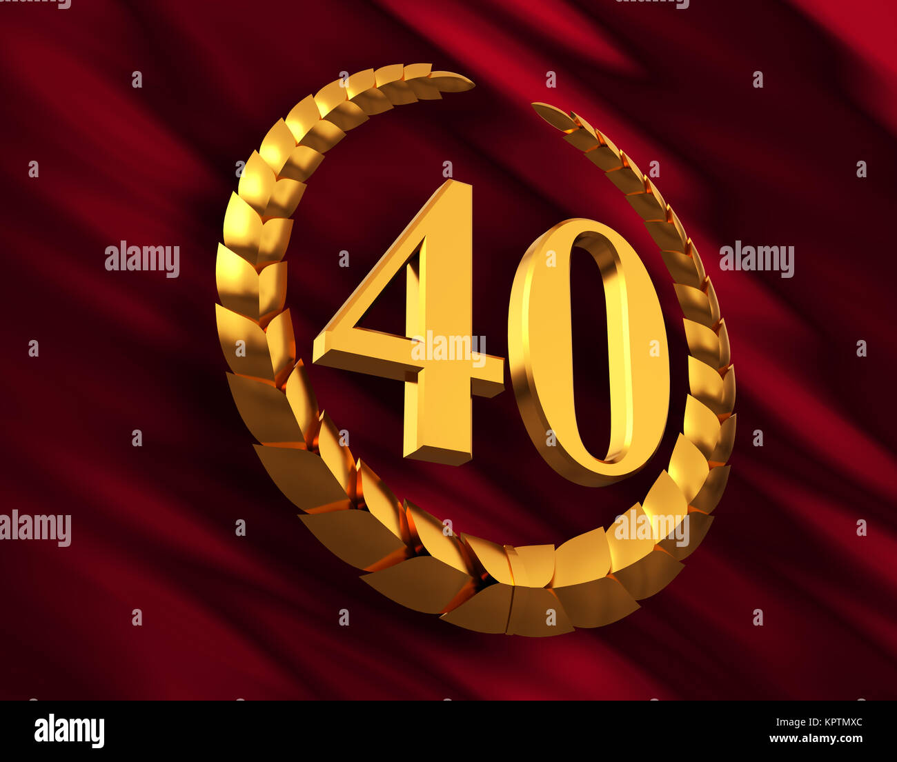 Anniversary Golden Laurel Wreath And Numeral 40 On Red Flag Stock Photo