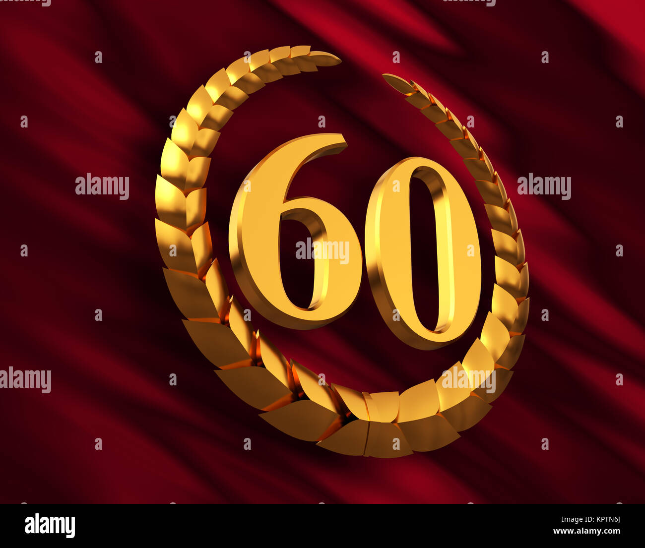 Anniversary Golden Laurel Wreath And Numeral 60 On Red Flag - Stock Image