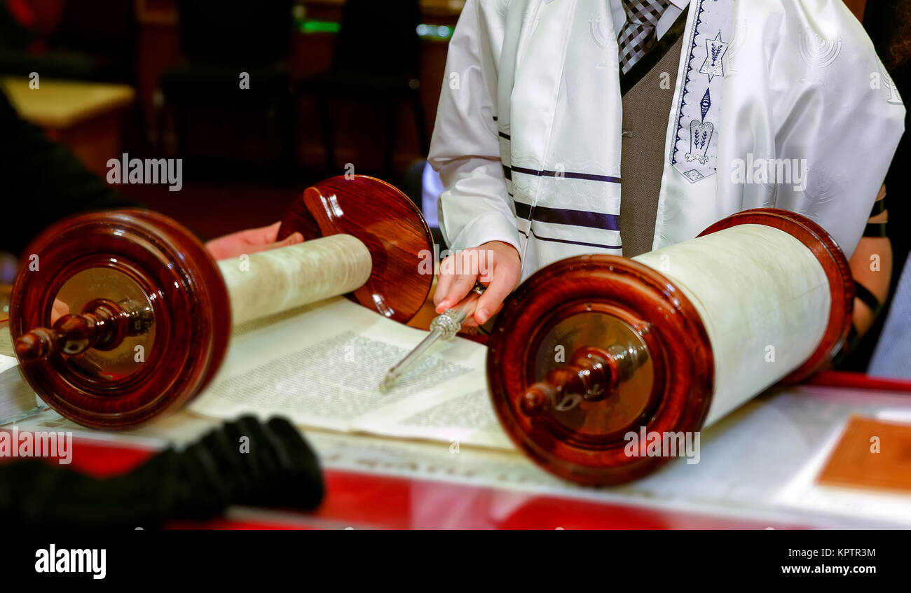 Jewish man dressed in ritual clothing family man  mitzvah jerusalem - Stock Image